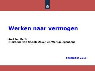 Werken naar  vermogen Aart Jan Bette Ministerie van Sociale Zaken en Werkgelegenheid