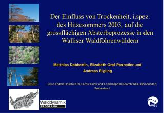 Swiss Federal Institute for Forest Snow and Landscape Research WSL, Birmensdorf, Switzerland