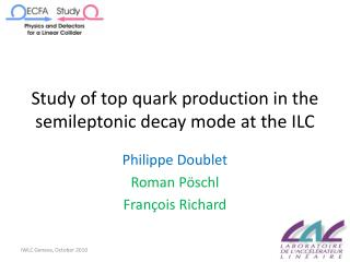 Study  of top quark production in the  semileptonic decay  mode  at  the ILC