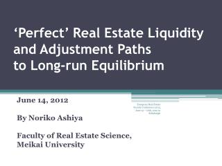 'Perfect' Real Estate Liquidity and Adjustment Paths  to Long-run Equilibrium