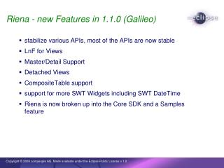 Riena - new Features in 1.1.0 (Galileo)