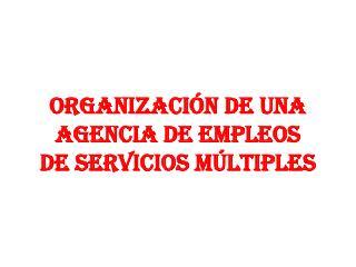 ORGANIZACIÓN DE UNA AGENCIA DE EMPLEOS DE SERVICIOS MÚLTIPLES