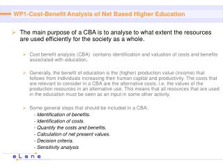 WP1- Cost-Benefit Analysis of Net Based Higher Education