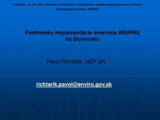 Podmienky implementácie smernice INSPIRE na Slovensku