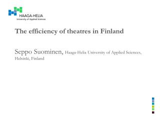 The efficiency  of  theatres in  Finland