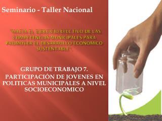 GRUPO DE TRABAJO  7.   PARTICIPACIÓN DE  JOVENES EN POLITICAS MUNICIPALES A NIVEL SOCIOECONOMICO