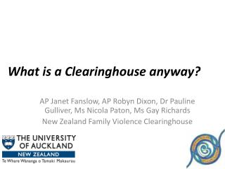 What is a Clearinghouse anyway?