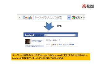 キーワード検索の入り口が Google から facebook に変化するかも知れない。 f acebook の検索にもヒットする仕組みづくりが必要。