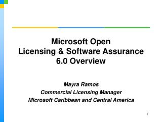 Microsoft Open Licensing & Software Assurance 6.0 Overview