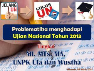 Problematika menghadapi Ujian Nasional Tahun  2013