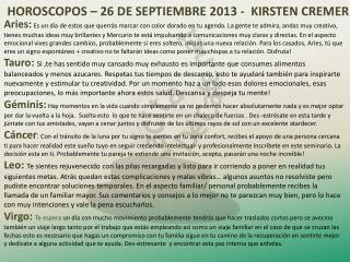 HOROSCOPOS –  26  DE SEPTIEMBRE 2013 -  KIRSTEN CREMER