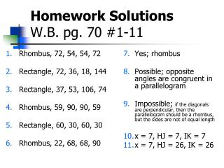 Homework Solutions W.B. pg. 70 #1-11