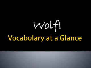 Vocabulary at a Glance