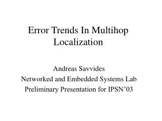 Error Trends In Multihop Localization