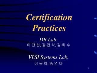 Certification Practices