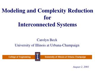 Modeling and Complexity Reduction for  Interconnected Systems