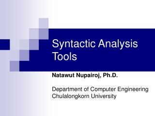 Syntactic Analysis Tools