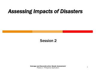 Assessing Impacts of Disasters