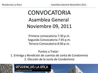 Residencias La RocaAsamblea General Noviembre 2011