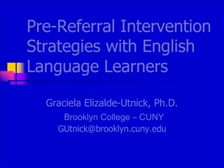 Pre-Referral Intervention Strategies with English Language Learners