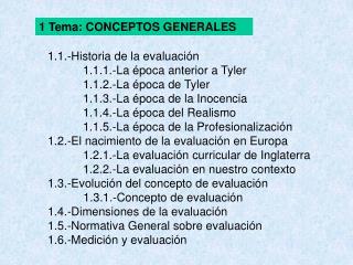 1.1.-Historia de la evaluación 1.1.1.-La época anterior a Tyler 1.1.2.-La época de Tyler