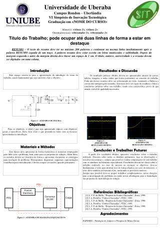Universidade de Uberaba Campus Rondon – Uberlândia  VI Simpósio de Inovação Tecnológica