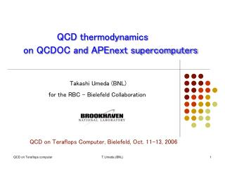QCD thermodynamics    on QCDOC and APEnext supercomputers