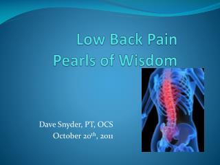 Low Back Pain Pearls of Wisdom