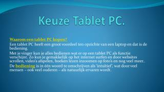 Keuze Tablet PC.