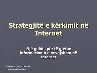 Strategjit� e k�rkimit n� Internet