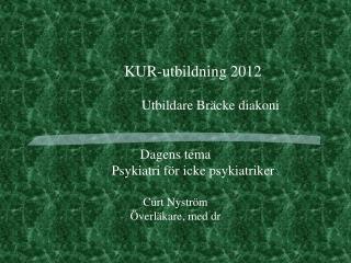 KUR-utbildning 2012 Utbildare Bräcke diakoni Dagens tema Psykiatri för icke psykiatriker