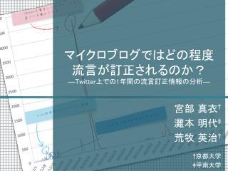 マイクロブログではどの程度 流言が訂正されるのか? ―Twitter 上での 1 年間の流言訂正情報の分析 ―
