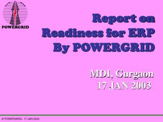Report on Readiness for ERP By POWERGRID
