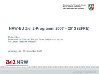 NRW-EU Ziel 2-Programm 2007 – 2013 (EFRE)