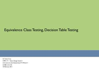 Equivalence Class Testing, Decision Table Testing