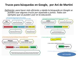 Trucos para búsquedas en Google,  por Ani de Martini