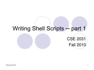 Writing Shell Scripts ─ part 1