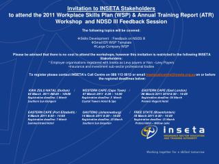 Invitation to INSETA Stakeholders