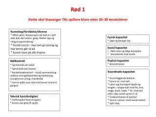 Rød 1 Dette skal Stavanger TKs spillere klare etter 20-30 tennistimer