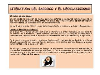 LITERATURA DEL BARROCO Y EL NEOCLASICISMO