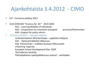Ajankohtaista 3.4.2012   - CIMO