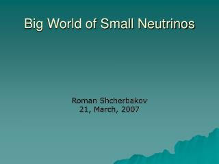 Big World of Small Neutrinos
