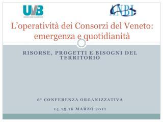 L'operatività dei Consorzi del Veneto:  emergenza e quotidianità