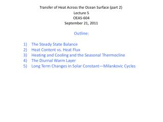 Transfer of Heat Across the Ocean Surface (part 2)