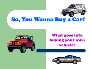 So, You Wanna Buy a Car?