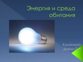 Энергия и среда обитания