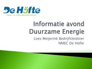 Informatie avond Duurzame Energie