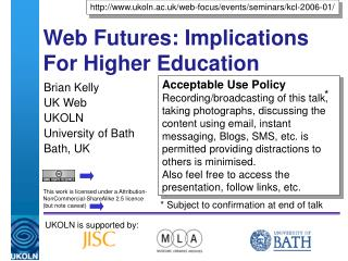 Web Futures: Implications For Higher Education