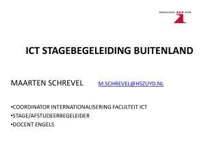 ICT STAGEBEGELEIDING BUITENLAND