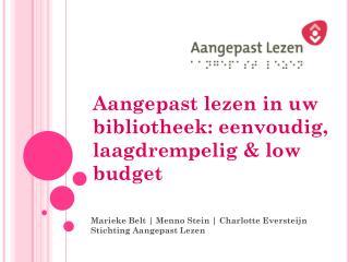 Aangepast lezen in uw  bibliotheek:  eenvoudig, laagdrempelig &  low budget